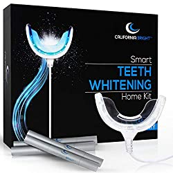 """California Bright Smart Teeth Whitening Home Kit with 16X LED Light Mouthpiece, 4 Whitening Gel Pens, Portable Case and Dental Shade Guide """" Smartphone & USB Compatible"""
