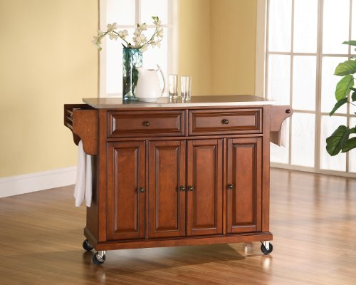 Crosley Furniture Rolling Kitchen Island with Stainless Steel Top - Classic ()