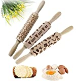 Christmas Wooden Rolling Pins StarALL Engraved Embossing Rolling Pin with Christmas Symbols for Baking Embossed Cookies (ABC)