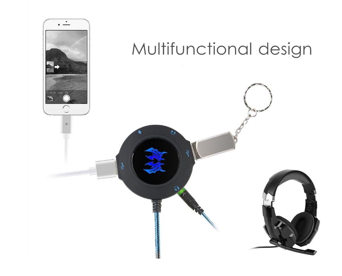 ArkarTech Tarjeta Sonido Externa Hub USB 2 Puertos Adaptador Audio y Micr/ófono 3.5mm para PC MAC Ordenador port/átil