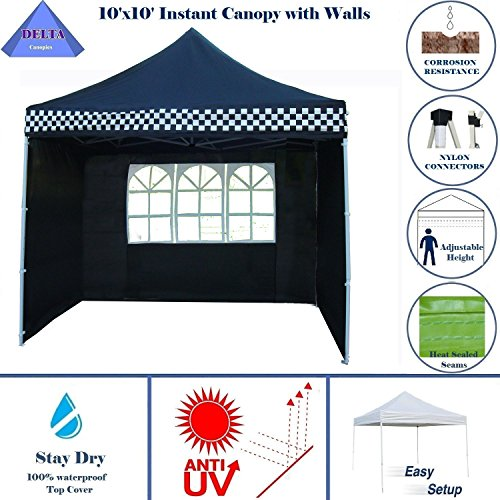 10'x10′ Ez Pop up Canopy Party Tent Instant Gazebo 100% Waterproof Top with 4 Removable Black Checker – E Model By DELTA Canopies