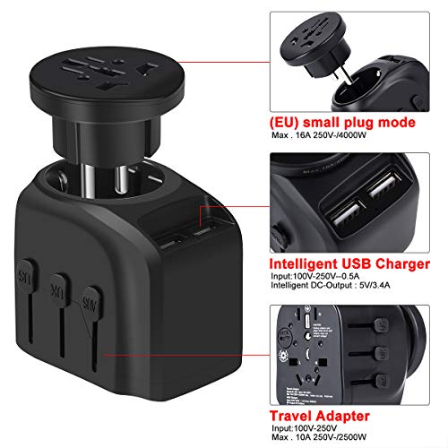 European Travel Plug Adapter, YVELINES 4000W International Power Adapter with 2 Smart Identification USB Charging Ports, converters and adapters for travel,for US,EU,AU,UK,Asia,Africa etc,Black by YVELINES (Image #1)