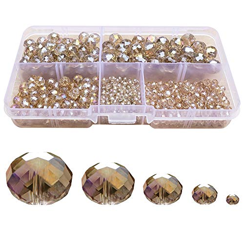 (Chengmu 2-10mm Silver Champagne Rondelle Glass Beads for Jewelry Making AB Colour 710pcs Faceted Briolette Shape Crytal Spacer Beads Assortments Supplies for Bracelet Necklace with Elastic Cord Box)