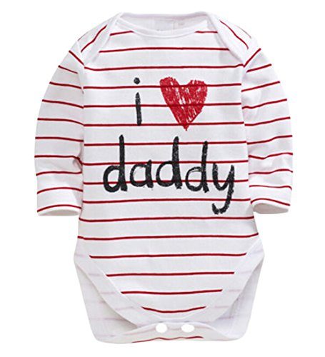 CANIS Unisex Baby Boys Girls Long Sleeve I Love Mummy/Daddy ()