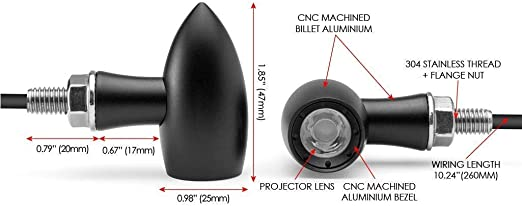Moto Mini Clignotant LED et Course Feux pour Personnalis/é Motos /& R/étro Cafe Racers