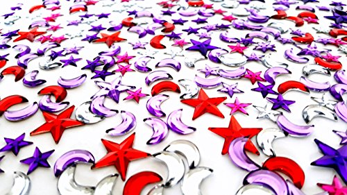 Assorted Self Adhesive Gem stickers (Moon & Stars Theme, Multicolored - 100 Gram Pack!) (Jewel Star)