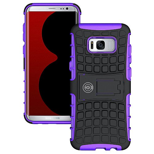 Galaxy S8 Plus Case, [Heavy Duty] Galaxy S8 Plus Armor cases- Tough [Rubber] Rugged Shockproof Dual Layer Hybrid Hard/Soft Slim Protective Case (For the Galaxy S8 Plus) by Cable and Case - (Purple)