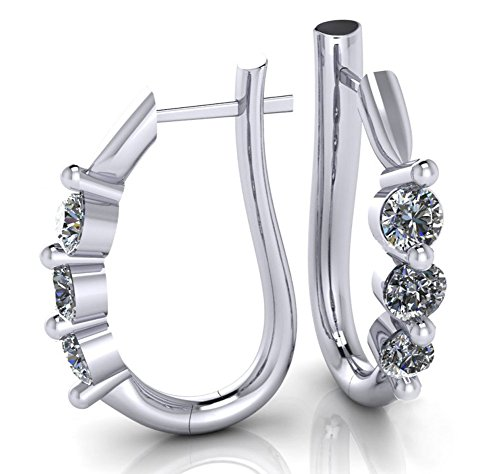 1.10 ct Ladies Round Cut Diamond Hoop Huggie Earrings by Madina Jewelry (Image #2)