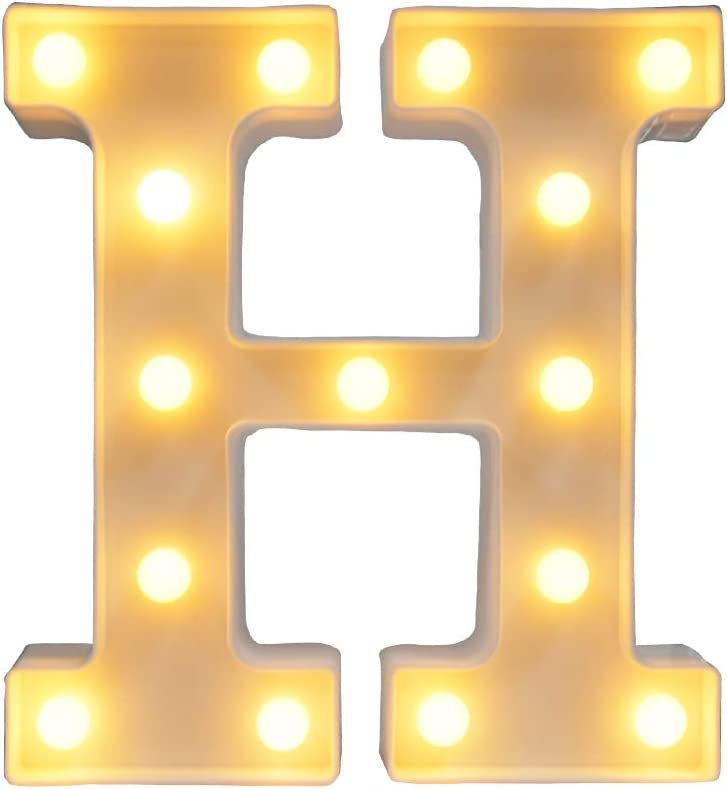 CJWPOWER Room Decor, LED Letter Signs, Cute Home Decor, Light Up Letter Signs for Wall, Bedroom, Party Decorations, Wedding, Birthday. Night Light and More (H)