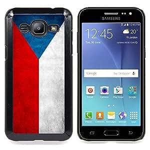 """Qstar Arte & diseño plástico duro Fundas Cover Cubre Hard Case Cover para Samsung Galaxy J2 / J200 (Bandera nacional de la Serie-República Checa"""")"""