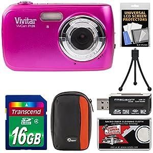 Vivitar ViviCam F126 Digital Camera with 16GB Card + Case + Mini Tripod + Reader + Kit