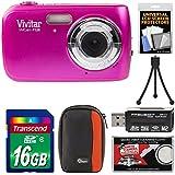 Vivitar ViviCam F126 Digital Camera (Pink) with 16GB Card + Case + Mini Tripod + Reader + Kit