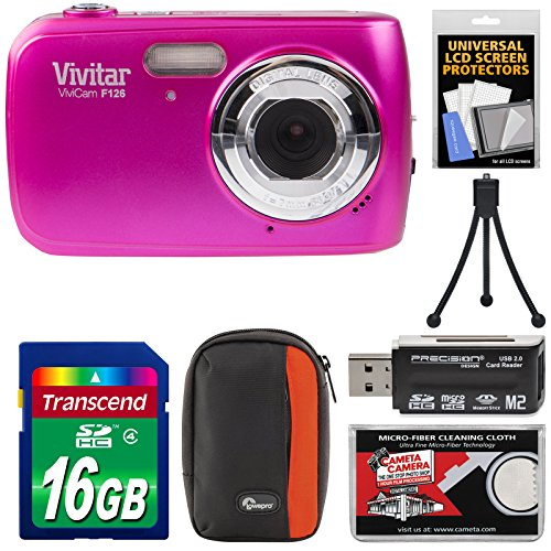 Vivitar ViviCam F126 Digital Camera (Pink) with 16GB Card + Case + Mini Tripod + Reader + Kit Vivitar Vivicam