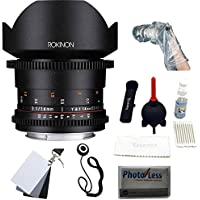 Rokinon DS 14mm T3.1 Full Frame Cine Lens for Canon EF +UV,Polarizer ,FLD 3 piece Kit + Giottos Large Cleaning Kit with Small Rocket Blaster + White Balance Card Set 2 x 3, Lens Cap, Op/Tech Rainsleeve-Flash 14 & Cleaning Cloth