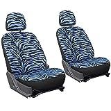 zebra blue car seat covers - OxGord 6pc Set Zebra Animal Print Auto Seat Covers Set - Front Low Back Buckets - Blue & Black