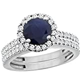 10K White Gold Diamond Halo Natural Quality Blue Sapphire 2pc Engagement Ring Set Round 6mm, size 7