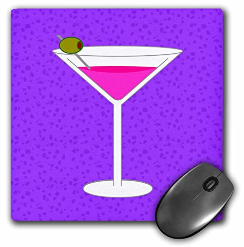 (3dRose Janna Salak Designs Food and Drink - Bright Pink Martini in Glass with Olive - Purple Background - MousePad)