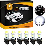 LED Monster 6 x T5 5 SMD White + 6 x T5 Twist Lock Instrument Panel LED Light Gauge Cluster Dashboard Indicator Lamp Bulb with Twist Sockets for GMC Savana 1500 2500 3500 Yukon XL 1500