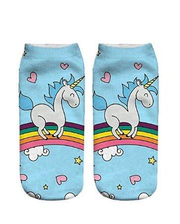 Enlegend Unicornio Calcetines Calcetines de algodón de patrón de Color Opcional de Dibujos Animados para niñas