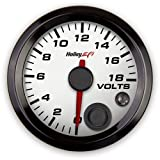 Holley 553-126W Holley EFI Voltage Gauge  Standard 2 1/16 in. Size 0-18 Volts CAN White Face Black Bezel Holley EFI Voltage Gauge