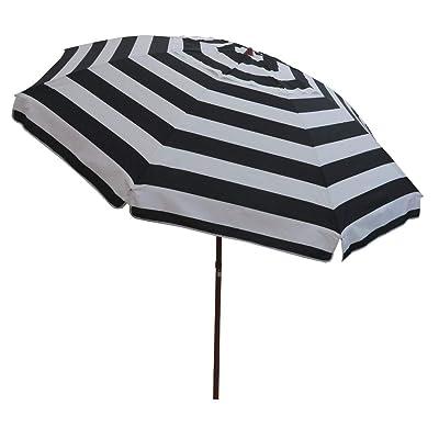8 feet Outdoor Patio Umbrella with Tilt, UV Protection Vented Canopy Including Carry Bag (8 feet, Black White Stripe) : Garden & Outdoor