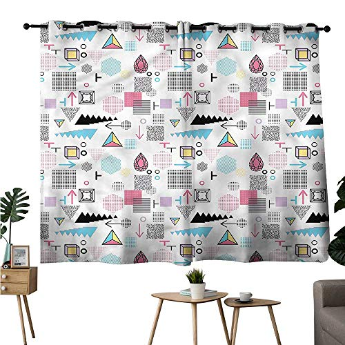 Marilec Curtain for Kids Abstract Memphis Cubes Arrows Durable W55 xL63 Suitable for Bedroom Living Room Study,etc