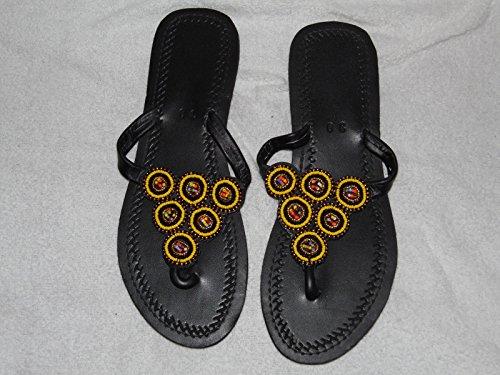 Fabriqué À La Main En Cuir Sandales Avec Base Caoutchouc Taille 5