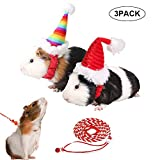 ADOGGYGO Guinea Pig Christmas Hat with Leash - Guinea Pig Santa Hat for Rabbit Hedgehog Chinchilla Hamster Ferrets Kitten Kitty Small Animals
