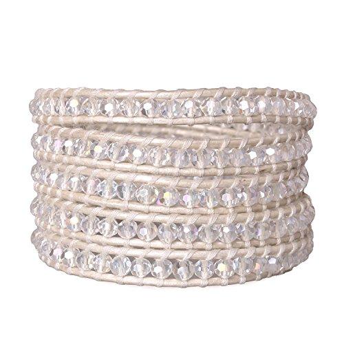 KELITCH White Transparent Crystal Bead on White Leather 5 Wrap Around ()