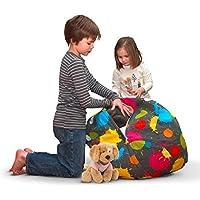 AMAZEYOU Stuffed Animal Storage Bean Bag Chair – Stuff n Sit – Premium Cotton Canvas – Comfy Pouf Organizer for Children and Kids (24 , Blots)