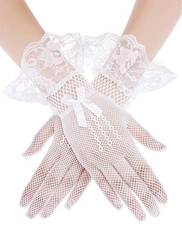 - SATINIOR Ladies Lace Gloves Elegant Short Gloves Courtesy Summer Gloves for Wedding Dinner Parties (White 4)
