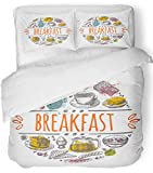 Emvency 3 Piece Duvet Cover Set Breathable Brushed Microfiber Fabric Aroma Breakfast Time Design Cafe Restaurant Bar Emblem Sticker Placard Bacon Bedding Set with 2 Pillow Covers Twin Size
