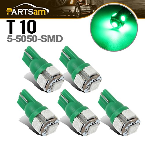 Partsam 5x Cab Clearance Roof Running Light Lamp W5W 2825 168 T10 Green 5-5050-SMD LED Bulbs for Ford Chevy Dodge