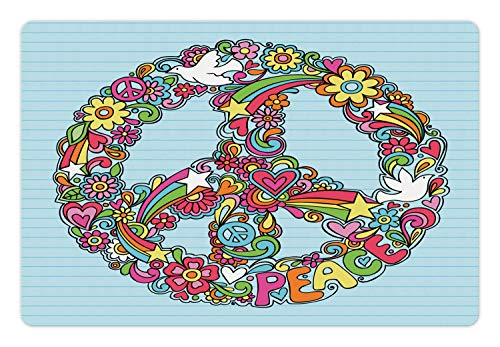 - Ambesonne Hippie Pet Mat for Food and Water, Hand-Drawn Psychedelic Groovy Floral Peace Sign and Dove Doodles on Line Sketchbook, Rectangle Non-Slip Rubber Mat for Dogs and Cats, Multicolor
