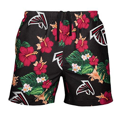 (NFL Atlanta Falcons Mens Team Logo Floral Hawaiin Swim Suit Trunksteam Logo Floral Hawaiin Swim Suit Trunks, Team Color, X-Large (34