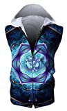 HOP FASHION Unisex Sleeveless Workout Floral Print Hoodie Tank Tops Zipper up Vest Tees with Front Pockets HOPM115-07-M