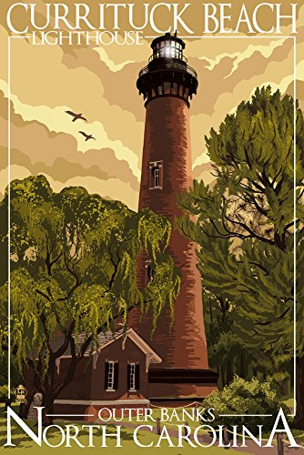 - Outer Banks, North Carolina - Currituck Beach Lighthouse (9x12 Art Print, Wall Decor Travel Poster)