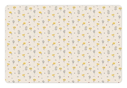 Lunarable Floral Pet Mat for Food and Water, Contour Flowers Leaves and Tiny Ladybugs Pattern Spring Flora Theme, Rectangle Non-Slip Rubber Mat for Dogs and Cats, Black Yellow and Champagne - Flora Champagne