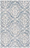 Cheap Safavieh Blossom Collection BLM107B Floral Vines Blue and Ivory Premium Wool Area Rug (4′ x 6′)
