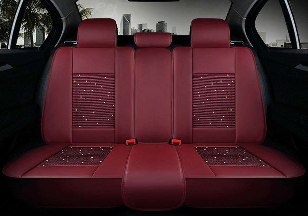 Cubierta de coj/ín de asiento de coche de tela de seda y hielo de hielo delantero universal completo compatible para BMW BMW de cinco asientos cubierta de asiento de coche,Black