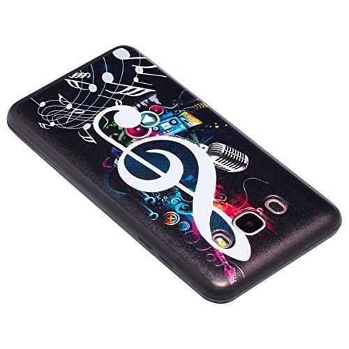 Funda Samsung Galaxy J5 2016,SainCat Moda Alta Calidad suave TPU Silicona Suave Funda Carcasa Caso Parachoques relieve Diseño pintado Patrón para Carcasas Samsung Galaxy J5 2016 Fondo negro 3D TPU Sil Símbolo de música