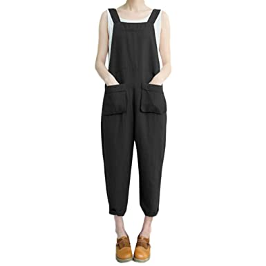 84f827decb Hotcl Summer Strappy Trousers Jumpsuit Women Overalls Jumpers Elastic Waist  Dungarees Pockets Rompers Loose Long Pants