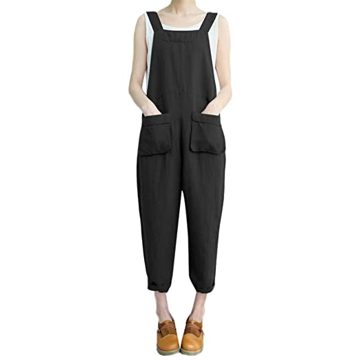 3b863bf1971 Cardigo Women Sleeveless Loose Cotton Linen Long Playsuit Party Jumpsuit  Romper Black