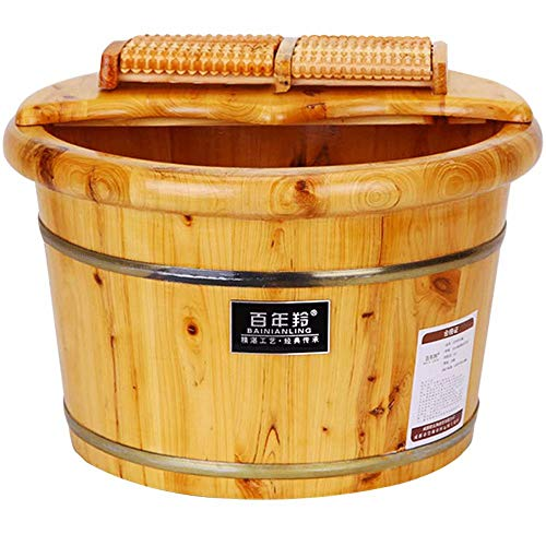 Foot Basin Wooden Bucket Foot Barrels Massage Beads Foot Tub Foot Bath Barrel Wood (Bath Wood Bucket)