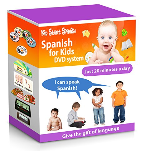 SPANISH FOR KIDS: Early Language Learning System (Spanish in just 20 minutes) Kid Start Spanish - 4 DVDs + Music CD + Large Book + 50 Flashcards + Games + Apps included. (Best Spoken Translation App)