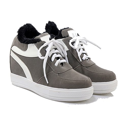 VogueZone009 Women's Round Closed Toe High-Heels Soft Material Lace-up Pumps-Shoes Gray yp886
