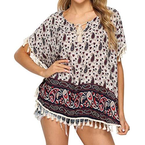 Brush Cut Fringe (Summer Tops for Women 2019 Tronet Fashion Women O-Neck Short Sleeve Bohemian Fringe Cotton Tee Casual Bat Top)