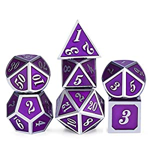 Metal Game Dice Set, Soild 7 die DND Metal Dice Set Purple Surface and Silver Frame Metal Dice Set with Metal Box for Role Playing Game Dungeons and Dragons RPG and Pathfinder