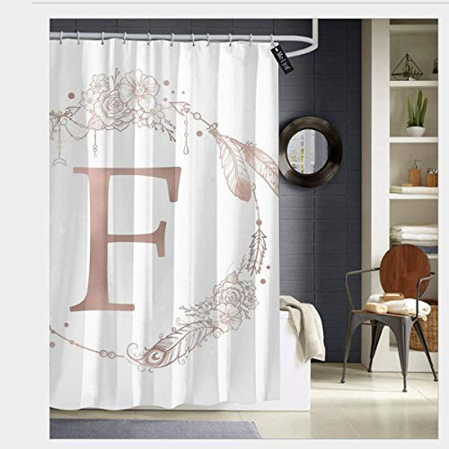 Kailiy-Design Letter F Rose Gold Pink Initial Monogram Shower Curtains with Hooks,Bath Curtain Bathroom Curtain 72 x 72 (Shower Curtain With Letter F)