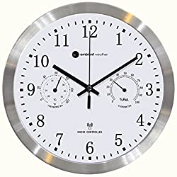 Ambient Weather RC-1200MTTHA 12 Radio Controlled Wall Clock with Temperature & Humidity, Aluminum